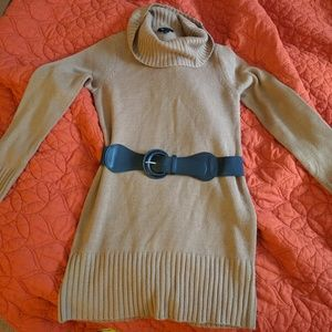 Light brown cowl neck belted sweater dress/tunic